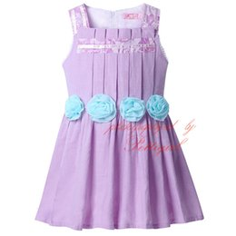 New Arrival Purple Causal Girls Dresses With Roses Belt Flower Sleeveless Baby Dress Kids Summer Clothes Girls GD41207-03