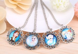 Wholesale 2014 NEW Frozen necklace free shpping Time gem series necklace pendant Alloy glass tiles