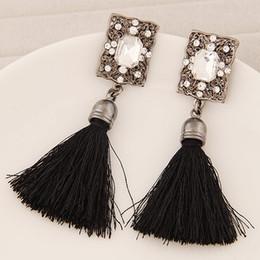Brinco Pendientes Vintage Women Crystal Stud Earrings Korean Style Wholesale Tassel Earrings Elegant Women Accessories