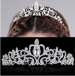 Wholesale Bridal Wedding Crystal Rhinestone Crown Heart Crown Pageant Silver Plated Women Tiaras Hair Comb Headband