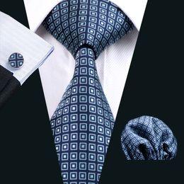 Mens Blue Neck Tie Set Pocket Square Cufflinks Jacquard Woven Formal Mens Silk Tie Work Meeting Leisure N-0505