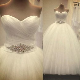 Wholesale Cheap Wedding Dresses A Line Sweetheart Neckline Ruched with Beaded Sash Floor Length Bridal Gowns Sweet Dresses vestido de noiva