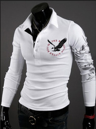 FG1509 Men eagle tattoo printing tops cultivating long-sleeved turn-down collar POLO shirt plus size M - XXL