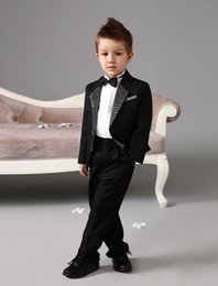 Luxurious black Ring Bearer Suits cool Boys Tuxedo With Sequins Black Bow Tie kids formal dress boys suits fashion kids suits
