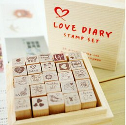 Wholesale-Free Shipping New wooden funnyman Cute cat Love diary stamp set DIY wood Box stamping
