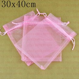 Wholesale 100pcs lot 30x40cm Pink Color Large Organza Bag Organza Pouch Jewelry Gift Bags Free Shipping