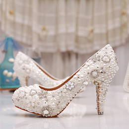 Luxuy Handmade Pearl Crystal Diamond Wedding Shoes White Bridal Dress Shoes Women Platform High heels 3 Inches Glitter Pumps Free Shipping