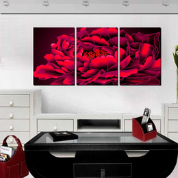 3 Pieces Home decoration Picture Paint on Canvas Prints flower peony Abstract oil painting waterfall mountain tree Eggs fish Chrysanthemum