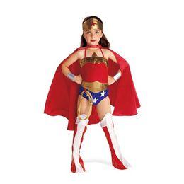 Wholesale wonder women children dress kids halloween costumes for girls party cosplay halloween Kids Superhero Costume with Superhero Cape in stock
