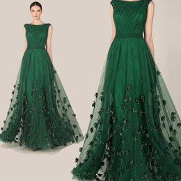 Wholesale Fashionable Elegant Zuhair Murad Dress Emerald Green Tulle Cap Sleeve Evening Dress Party Prom Dresses Gowns AL2051