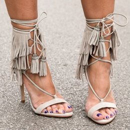 New Fashion Suede Lace Up Women Girls Love Sandals Fringe Draped Ankle Wrap Cut Outs Summer Shoes Gladiator Thin Heel Cool Pumps