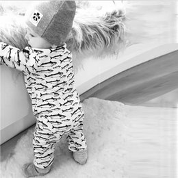 Wholesale INS Hot Style New Saury Printing Romper Cotton Jumpsuit Children Pyjamas Pacific Saury Clothes Baby Clothes Kid Romper