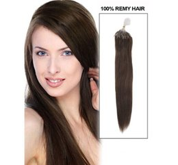 "18"" 20"" 22"" 100g 2# dark brown Silicone Micro Rings Loop Hair Extensions Indian Remy Human Hair"