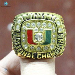 Wholesale 1991 Miami football NCAA championship ring Black Red Enamel Crystal Gold Pleated Size for men big ring