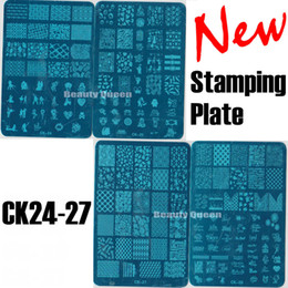 NEW 4 Style XL Full Anime Designs Nail Stamping Plate Nail Art Stamp Image Plate Metal Stencil Template Transfer Polish CK24 - 27