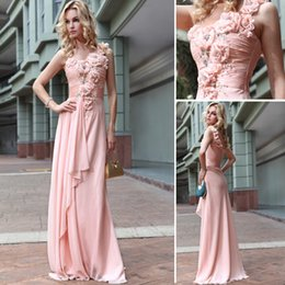 One Shoulder Long Bridesmaid Dresses Flowers Featured A line Chiffon Pleats Party Evening Dress Cheap Custom Made