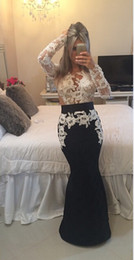 2015 Black and White Evening Dresses Long Sleeve Beaded Lace Mermaid Floor Length Evening Gowns Dhyz 01