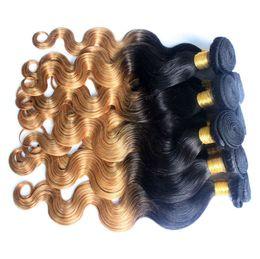 Promotion 27 bouclés ombre Ombre brésilienne cheveux de la vierge paquets de deux tons corps de la vague cheveux humains tisse 4pcs T1b 27 droite profonde de l'onde ondulée ondulée 6 style