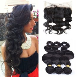 Wholesale Ali moda a Malaysian weave with bundles with lace frontal closures x4 with bleached knots free middle three part closure with bundles