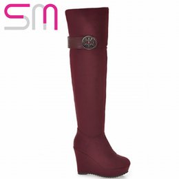 Wholesale-Sexy Buckle Wedges Shoes Over the Knee High Boots 2015 High Heels Platform Shoes Knight Boots Autumn Winter Boots Women Shoes