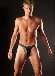 Wholesale Mens Latex Briefs Fetish Panties Cock Sock Underwear With Condom Calcinha Men Lycra Fabrics Gay Lingerie