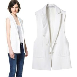 SZ1008 2015 summer European style new fashion Show thin temperament double-breasted Vest Coat for Women BLAZER Blusas