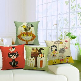 10 Styles for sofa couch chair car decor Cotton Linen Square Throw Pillow Case Decorative Cushion Cover Black Cat Bird