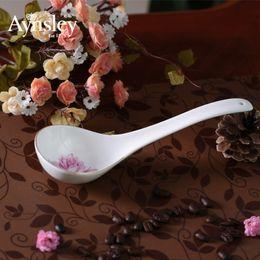 Wholesale Britain Aynsley bone china tableware tablespoon Elizabeth Rose small ceramic spoon rice spoon coffee spoon