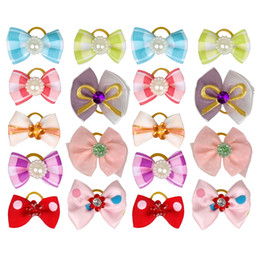Wholesale 500pcs Pearls Pet Cat Dog Hair Bows Charms Grooming Accessories Mixed Styles and Colors as pictures show