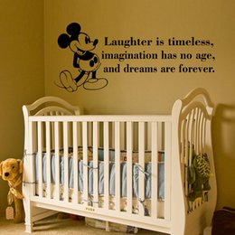 Wholesale Mickey Mouse Quote Wall Decal laughter is timeless waterproof Vinyl Wall Sticker for Baby Room Decor