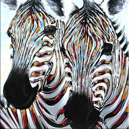 Fashion 100% Hand-painted Wild Animal Zebra Oil Painting on Canvas for Modern Home Decoration Wall Art