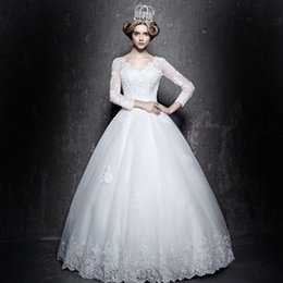 2019 New Wedding Dress Bridal Gown with Puffy Luxury Crystals Sweep Train Beaded Lace UP 3 4 long sleeves
