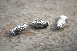Wholesale 12pcs Fish Beads Antique Tibetan silver fish bead Beadwork Charms pendant x9X6mm