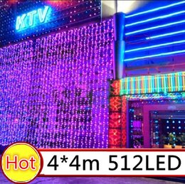 110V 220V 4M x 4M 512 LED Outdoor Black Curtain Light Party Christmas Decoration String Wedding  Hotel Festival Free Shipping