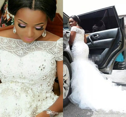 Plus Size Arabic Nigerian Wedding Dresses Bateau Neck Beading Tiered Short Sleeves Long Chapel Train Tulle Mermaid Bridal Gowns