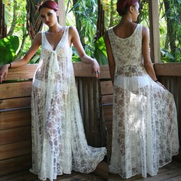 Wholesale-NEW! Fashion Women Honeymoon White Lace Maxi Dress , Women Summer Beach Dress, Sexy Beach Wear, In Stock