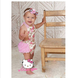 Wholesale 10 OFF Floral Baby Girl Rompers Bow Headbands Set Toddler Lace Jumpsuits Newborn Baby Clothes Clothing clothes hair band