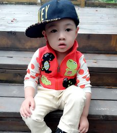 Wholesale 2015 New Autumn Baby Clothes Korean Style Little Dinosaur Clothing Sticking With Zippers Boys Long Sleeve Coats Fit Age Kids YY22
