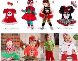 Wholesale mixed design Christmas girl set Baby Romper Jumpsuit Rompers With Bowknot Headbands Infant Girls Newborn Romper tutu Dress Cake Skirt Sets