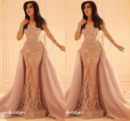 Long Sleeves Formal Arabic Evening dresses 2019 Vestidos De Festa Lace Appliques Crew Sheer Neckline Over Skirts Vintage Mermaid Prom Gowns