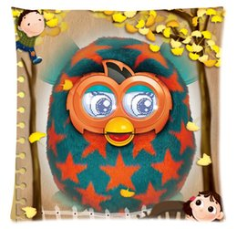 Wholesale Custom Furby With A girl Fashion Style Cotton Zippered Linen Decorative Single Pillow Case Standard Size x45 cm Twin Sides