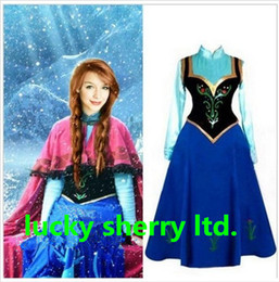 Wholesale Hot Sales For Adult Women New syle FRO ZEN Princess Anna Dress Cloak Suit Adult Girl Cosplay Costume Size S XXL