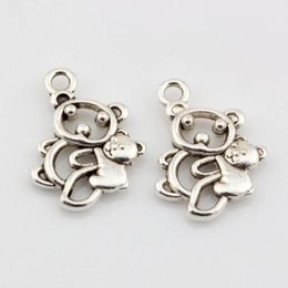 Wholesale Hot Antique Silver Alloy Hollow Bear Charms DIY Jewelry x mm