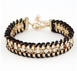 2016 New fashion jewelry rhinestone chain link rope Weave charm bracelet gift for women ladies Girls