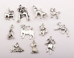 Wholesale Hot Antique Silver Zinc Alloy Mixed Dog Charm Pendant Jewelry DIY