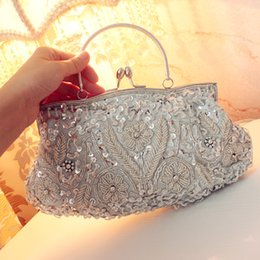 Wholesale Sequin Wedding Clutch - Sparkly Sequins Beading Elegant Women's Evening Bags With Chain Vintage Bridal Wedding Clutch Handbags Bridal Mother's Bag For Wedding Party