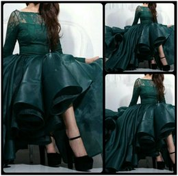 Saudi Arabia Green Evening Dress Sheer Long Sleeve Myriam Fares Celebrity Gown Prom Party Dress Puffy High Low Formal Gown