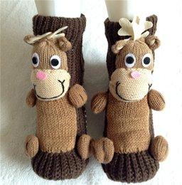 Wholesale Best Christmas D Cartoon winter warmer adult floor socks Elks moose deer Pig birds antiskid Woolen women men board stockings sock gifts