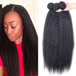 7A Brazilian Kinky Straight Virgin Human Hair 3 Bundles 100% Carse Yaki Virgin Human Hair Large In Stocks