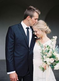 Two Pieces Black Wedding Suits Tuxedos Gentleman Notch Lepal custom made groom tuxedos classic groom tuxedos -q151